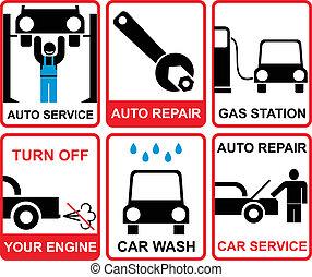 Car service vectror signs