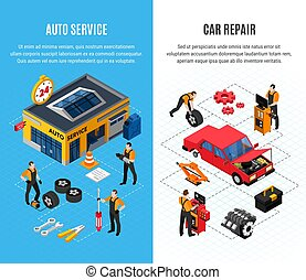 Car Service Vertical Banners Set