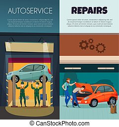 Car Service Vertical Banners Set