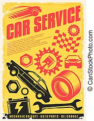 Car service vintage poster design. Retro transportation ad concept. Auto parts, gears, vehicles graphic. Vector transport flyer idea on yellow background.