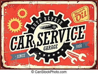 Car service vintage tin sign