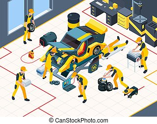 Car service. Workers mechanic repairing automobile change engine and wheels in garage interior vector inspection team isometric