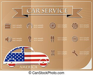 Car service,made from the flag of America, vector illustration