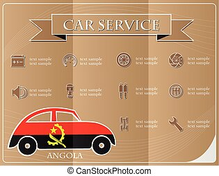 Car service,made from the flag of Angola, vector illustration