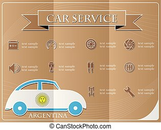 Car service,made from the flag of argentina, vector illustration