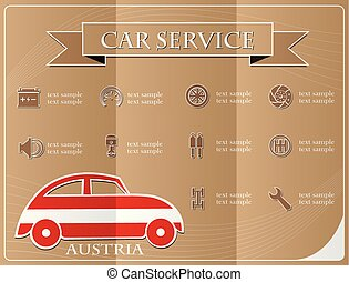 Car service,made from the flag of Austria, vector illustration