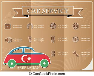 Car service,made from the flag of Azerbaijan, vector illustration