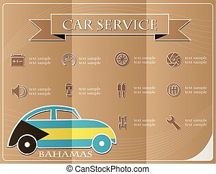 Car service,made from the flag of Bahamas, vector illustration