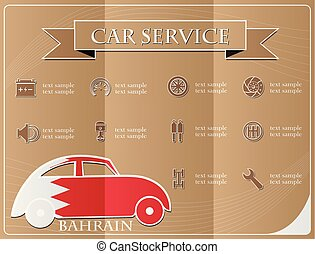 Car service,made from the flag of Bahrain, vector illustration