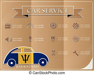 Car service,made from the flag of Barbadian, vector illustration