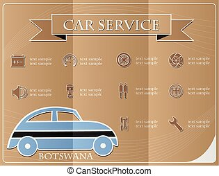 Car service,made from the flag of Botswana, vector illustration