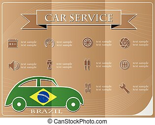 Car service,made from the flag of brazil, vector illustration