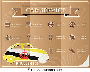 Car service,made from the flag of brunei, vector illustration