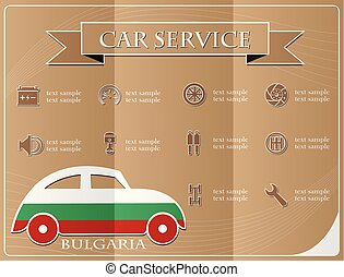 Car service,made from the flag of Bulgaria, vector illustration