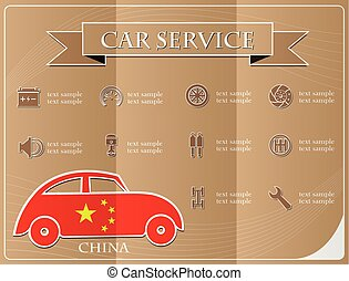 Car service,made from the flag of China, vector illustration