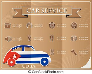 Car service,made from the flag of Cuba, vector illustration