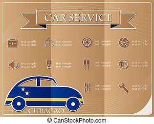 Car service,made from the flag of Curacao, vector illustration