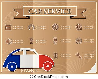 Car service,made from the flag of France, vector illustration