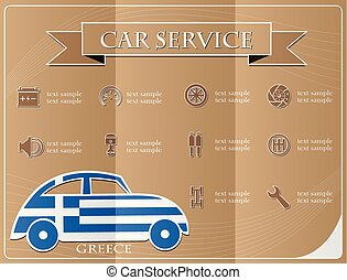Car service,made from the flag of Greece, vector illustration