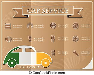 Car service,made from the flag of Ireland, vector illustration