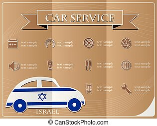 Car service,made from the flag of Israel, vector illustration