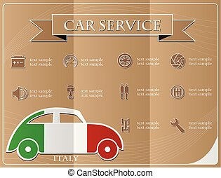 Car service,made from the flag of Italy, vector illustration