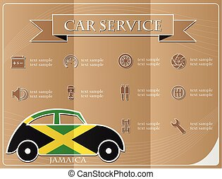Car service,made from the flag of Jamaica, vector illustration