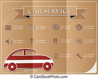 Car service,made from the flag of Latvia, vector illustration