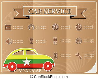 Car service,made from the flag of Myanmar, vector illustration