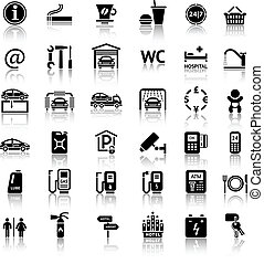 Car services and Repair 36 icons. Vector illustrations, silhouettes isolated on white background