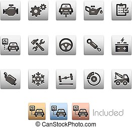 Car Services Icons - Metalbox Series