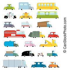 Car set cartoon style. Big transpor