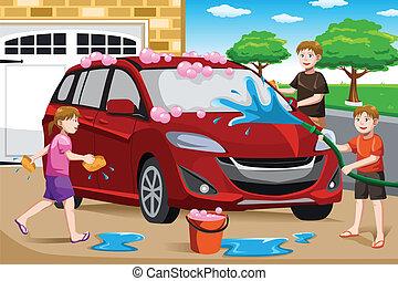 car, seu, lavando, crianças, pai