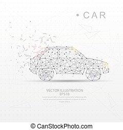 Car shape digitally drawn low poly wire frame.