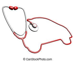 car-shaped, stethoskop