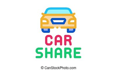 car share Icon Animation. color car share animated icon on white background