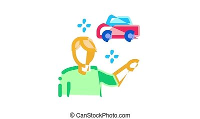 Car Sharing Business Icon Animation Car Share Deal And Agreement, Web Site And Phone Application, Key And Driver License