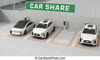 Car sharing concept. 3D rendering animation.