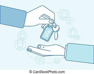 Car sharing concept - new model of car rental service