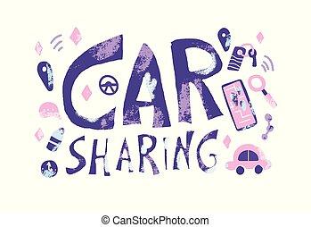 Car sharing concept. Vector flat illustration.