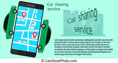 car sharing concept with car and smartphone. vector illustration.