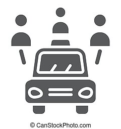 Car sharing glyph icon, auto and people, automobile sign, vector graphics, a solid pattern on a white background.