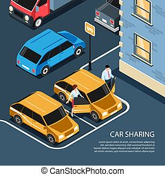 Car Sharing Isometric Composition