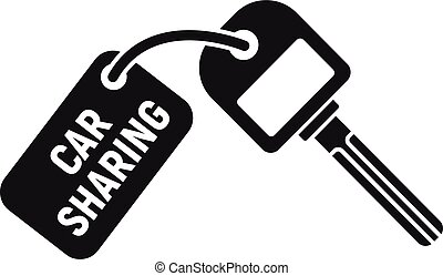 Car sharing key icon, simple style