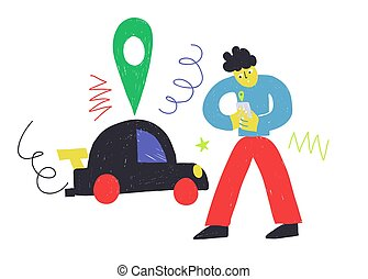 Car sharing service illustration