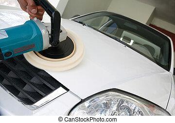 Car shine - Car care with power buffer.