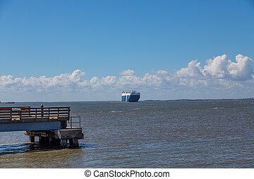 Car Ship on Horizon
