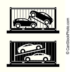 Car shipping container - vector illustration