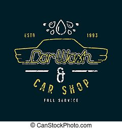 Car shop and wash emblem