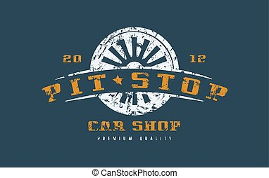 Car shop badge with shabby texture